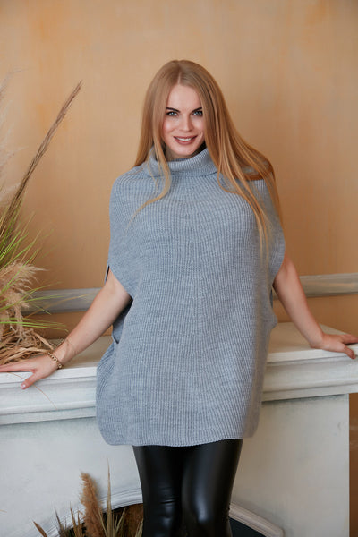 High Neck Knitted Poncho in Grey colour - jqwholesale.com