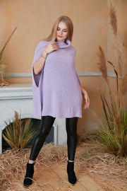 High Neck Knitted Poncho in Lilac colour - jqwholesale.com