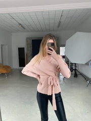 Long Kimono Sleeves Wrap Knitted Sweater - jqwholesale.com
