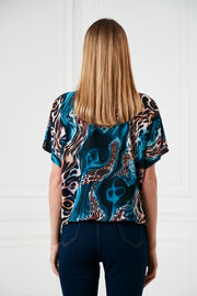 High neck Top in Blue multi Leopard print - jqwholesale.com