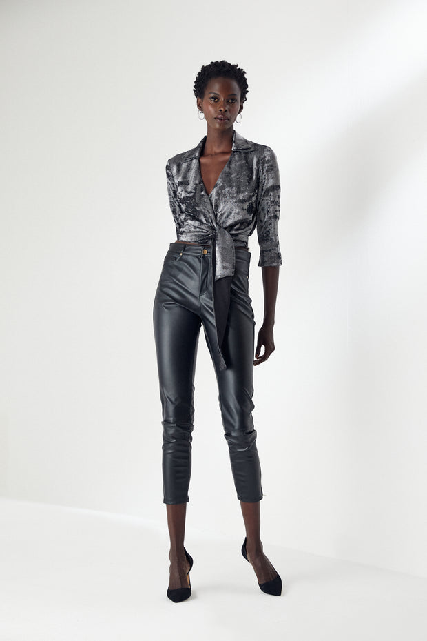 High Waist Black Leather Trousers/Leggins - jqwholesale.com