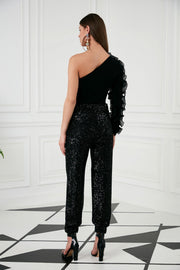 Sequin trousers with lastic in black - jqwholesale.com