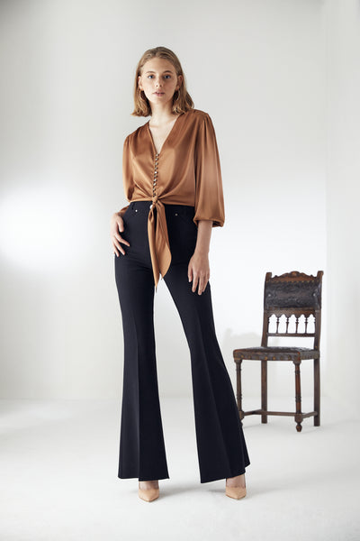 High Waist Black Flare Trousers with Arrows - jqwholesale.com