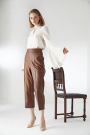 High Waist Leather Trousers with Arrows in Camel - jqwholesale.com
