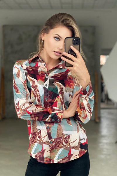 Oversize Top/Shirt in Beige Geometric print - jqwholesale.com