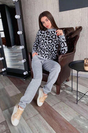 Knitted Loungewear Co Ord Set in Grey Leopard print