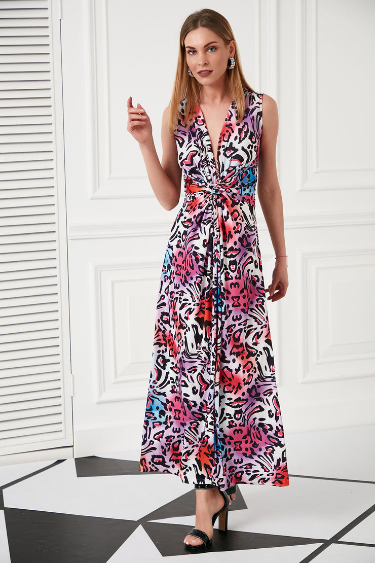 Wrap Maxi Summer Dress in Multi Leopard Print - jqwholesale.com