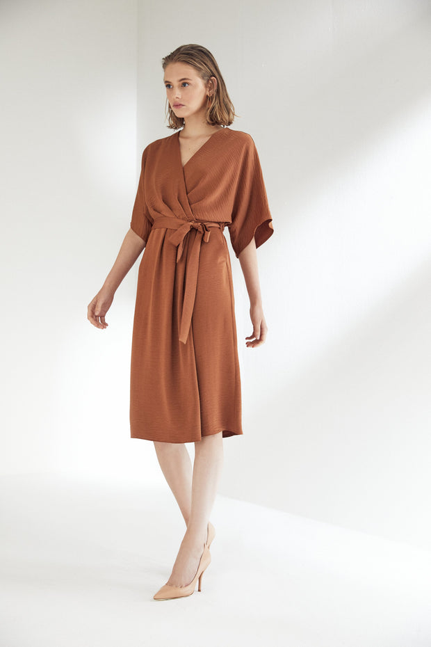 Camel Wrap Midi Dress with Kimono Sleeves - jqwholesale.com