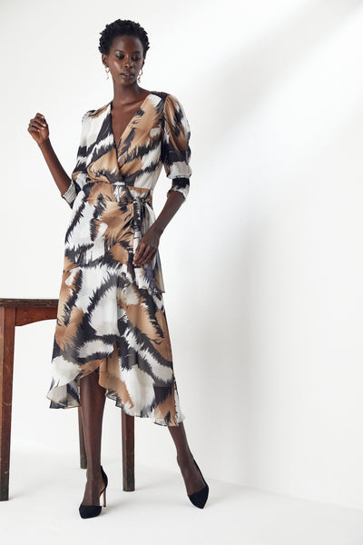 Wrap Midi Dress in Print - jqwholesale.com