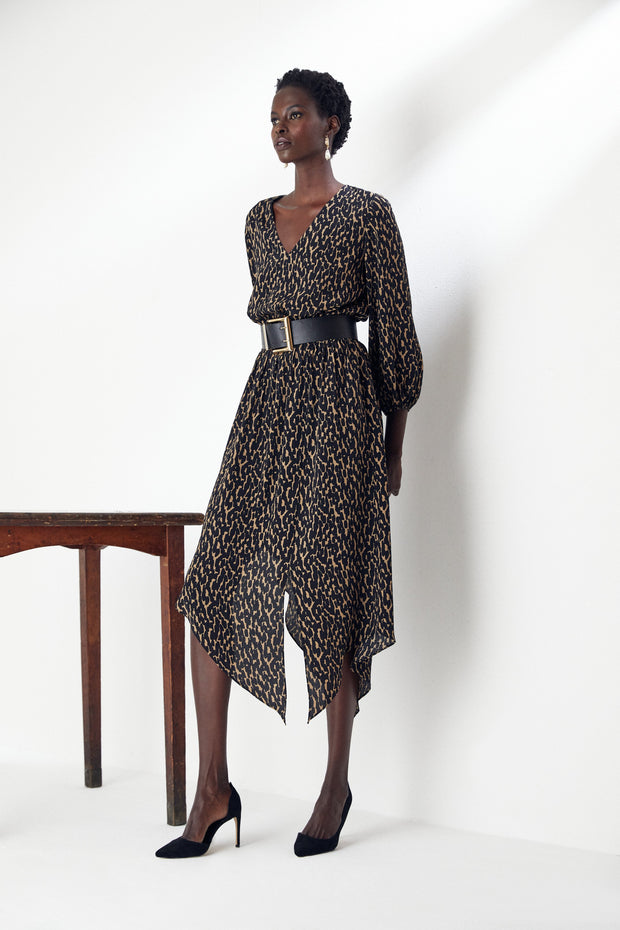 Print Wrap Midi Dress with Slit and Asymmetric hem - jqwholesale.com