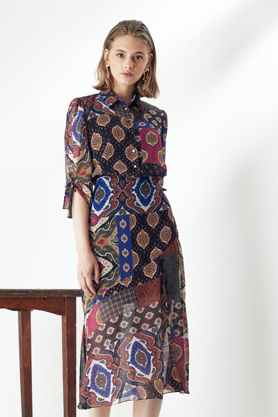 Shirt Midi Print Dress - jqwholesale.com