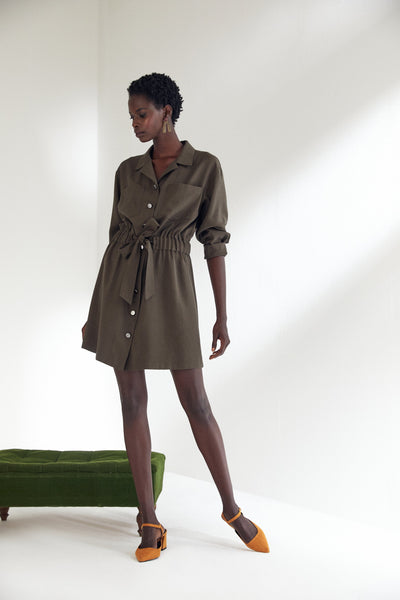 Wrap Mini Shirt Dress with in Khaki colour - jqwholesale.com