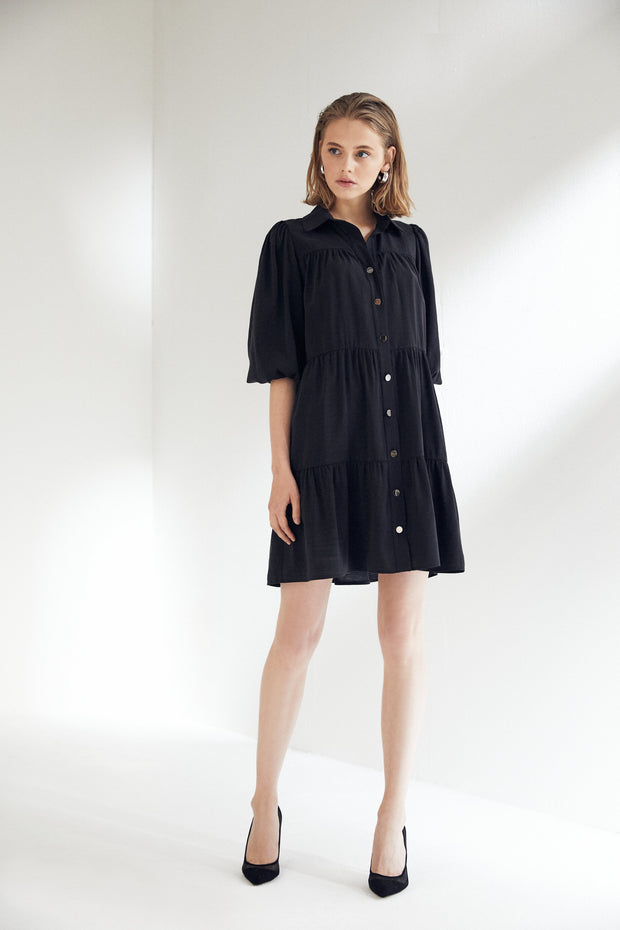 Black Wide Mini Shirt Dress - jqwholesale.com
