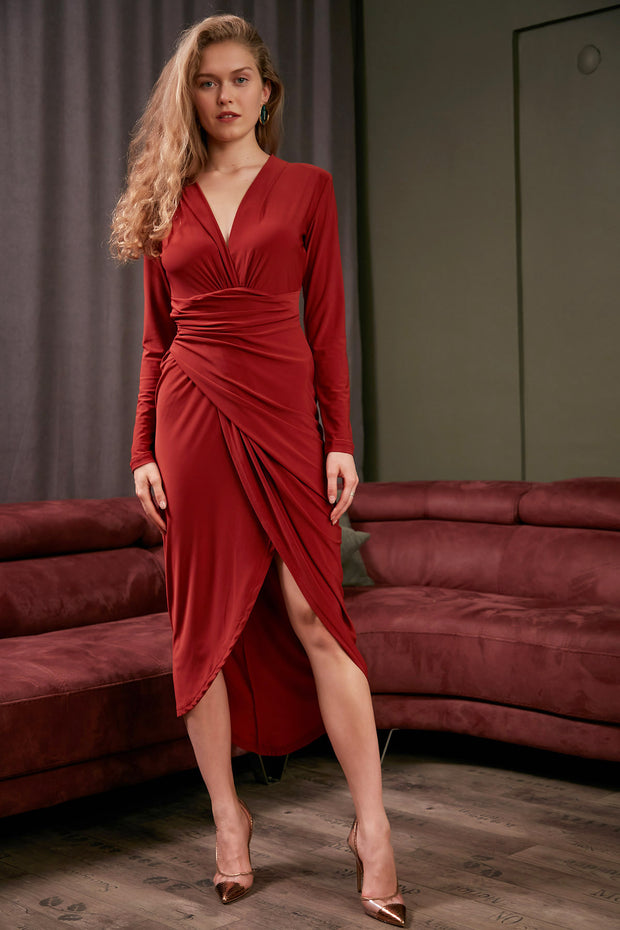 Wrap Midi dress with front Slit in Brick colour - jqwholesale.com