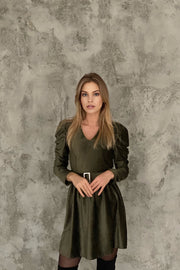 Khaki Wrap Mini Dress with Puff Shoulders - jqwholesale.com