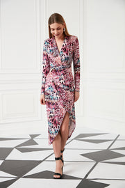 Wrap Over Midi Summer dress in Multi colour Leopard print - jqwholesale.com