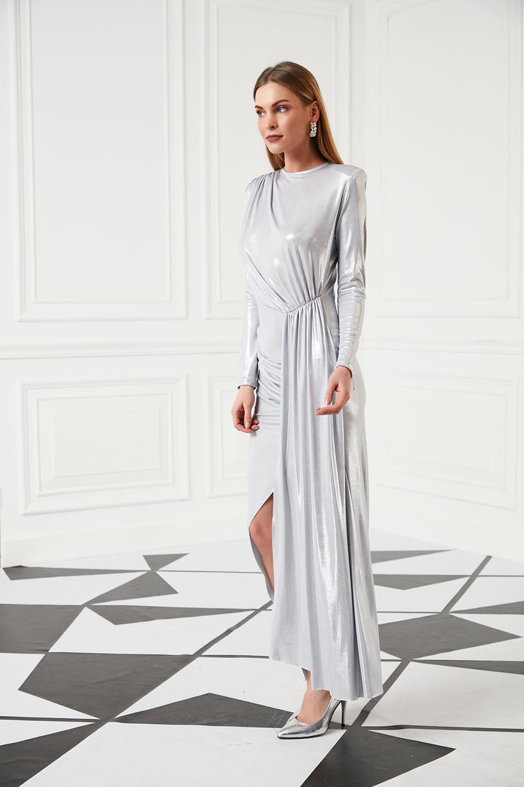 Evening Maxi Dress in Metallic Silver - jqwholesale.com