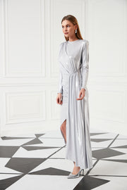 Evening Maxi Dress in Silver - jqwholesale.com