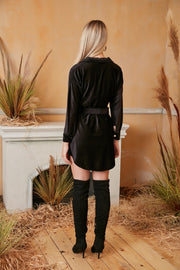 Black Long Sleeve Wrap Shirt Velvet Dress - jqwholesale.com