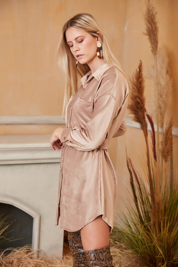 Beige Wrap Shirt Velvet Dress - jqwholesale.com