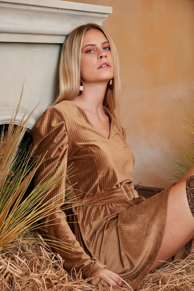 Wrap Mini Dress in Beige/Brown Colour with Balloon Shoulders
