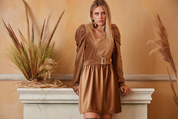 Wrap Mini Dress in Terracotta Colour with Puff Shoulders - jqwholesale.com