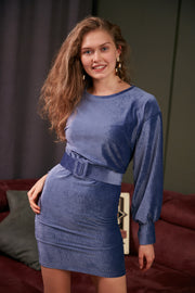 Wrap Mini Velvet Dress in Blue Colour - jqwholesale.com