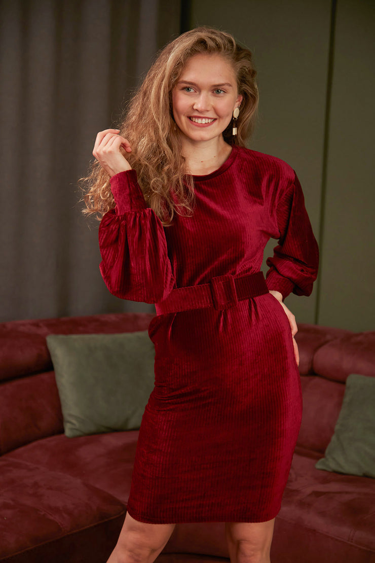 Wrap Mini Velvet Dress in Burgundy Colour - jqwholesale.com