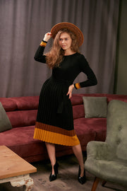Black Long Sleeve Midi Knitted Dress - jqwholesale.com