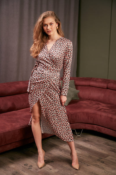 Wrap Midi Dress in Coral Leopard Print - jqwholesale.com