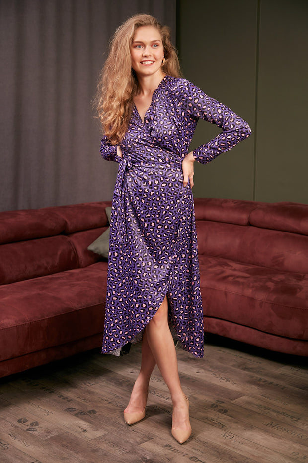 Wrap Midi Dress in Purple Leopard Print - jqwholesale.com