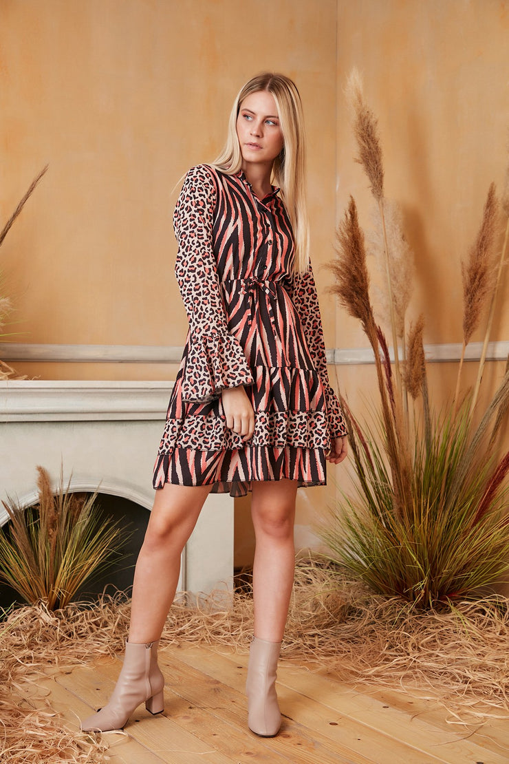 Long Sleeve Ruffle Wrap Skater Dress in Geometric Animal Print - jqwholesale.com