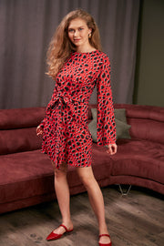 Wrap Mini Dress in Red Leopard Print - jqwholesale.com