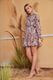 Long Sleeve Skater Dress in Floral print - jqwholesale.com