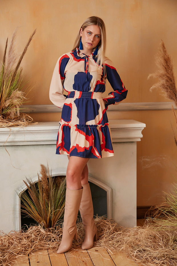Long Sleeve Skater Dress in Blue Leaf print - jqwholesale.com