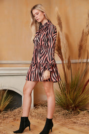 Long Sleeve Skater Dress in Coral Zebra print - jqwholesale.com