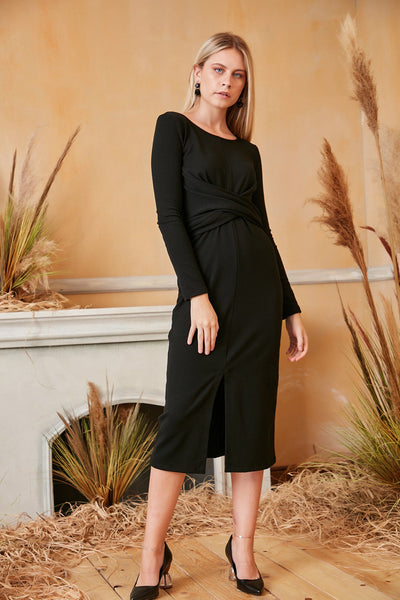 Long Sleeve Wrap Midi Knitted Dress in Black colour