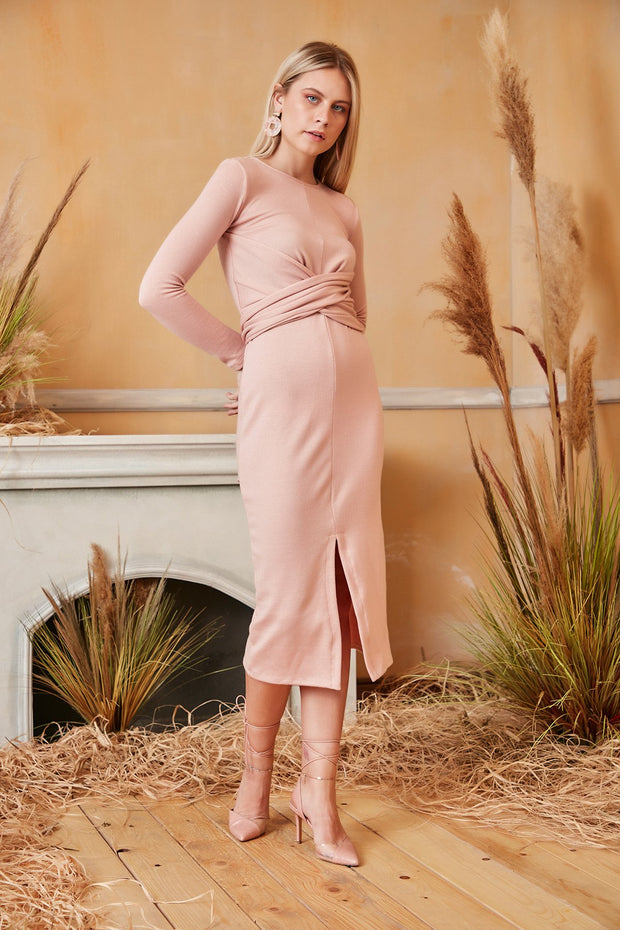 Long Sleeve Wrap Midi Knitted Dress in Pink colour