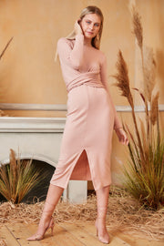 Long Sleeve Wrap Midi Knitted Dress in Pink colour - jqwholesale.com