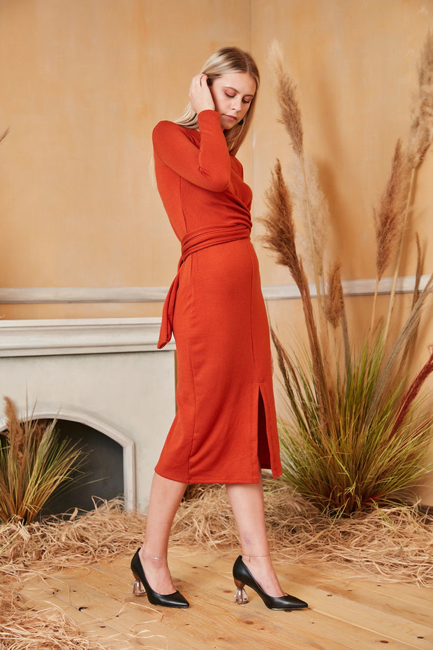 Long Sleeve Wrap Midi Knitted Dress in Dark Orange colour - jqwholesale.com