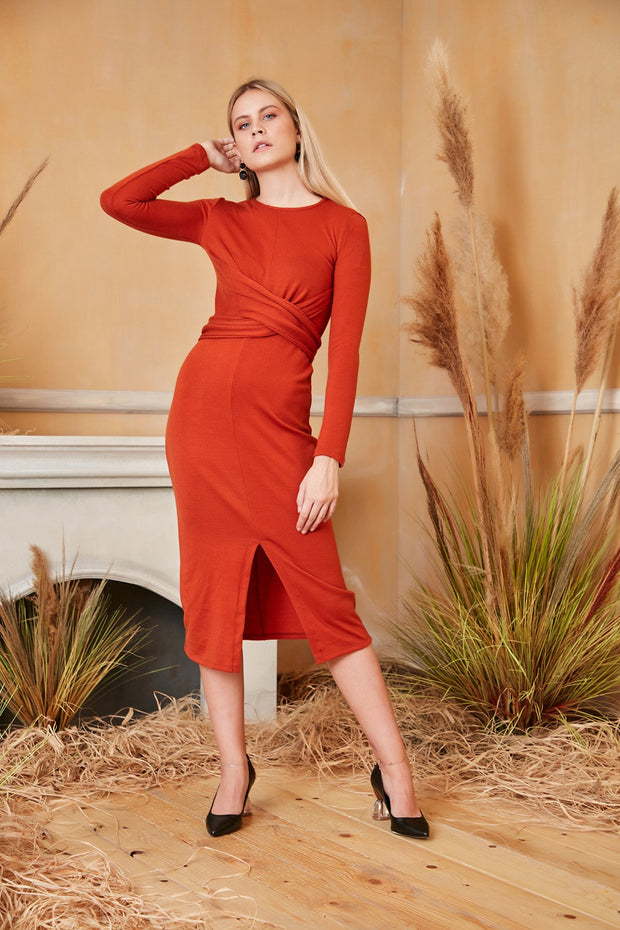 Long Sleeve Wrap Midi Knitted Dress in Dark Orange colour