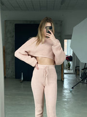 Knitted Loungewear Co Ord Set in Grey - jqwholesale.com