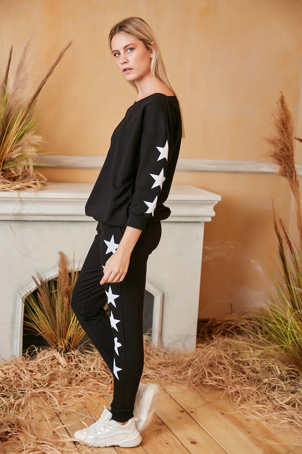 Loungewear Co Ord Set in Black with Stars - jqwholesale.com