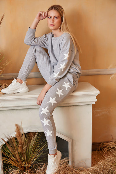 Loungewear Co Ord Set in Grey with Stars - jqwholesale.com