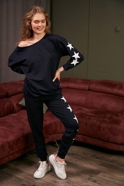 Loungewear Co Ord Set in Navy with Stars - jqwholesale.com