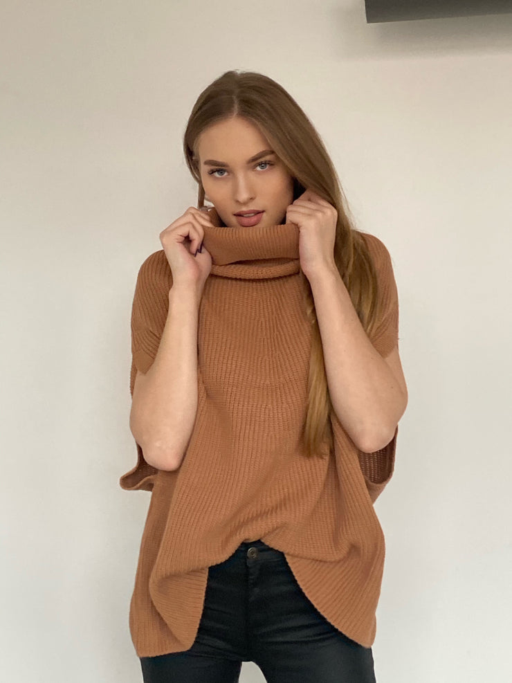 High Neck Knitted Poncho in Camel colour - jqwholesale.com