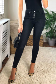 Black High Waist Skinny Buttons Jeans - jqwholesale.com