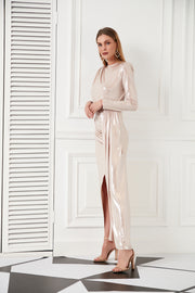 Long sleeve Maxi Dress in Pink - jqwholesale.com