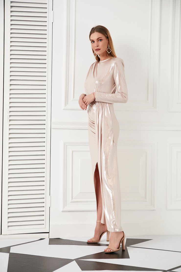 Wedding guest dress in Shiny Rose Gold - jqwholesale.com