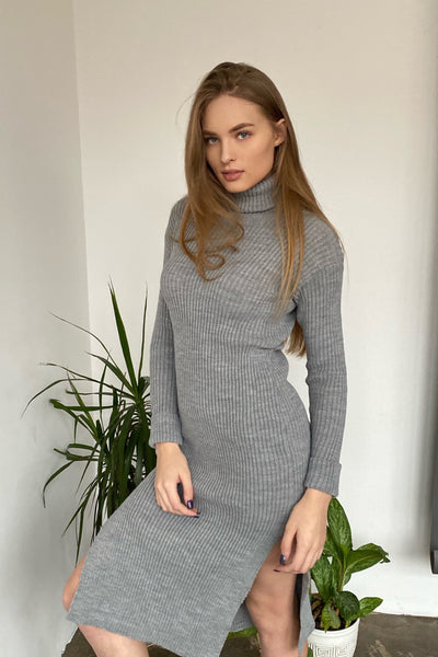 Grey High Neck Knitted Midi Dress with side slits - jqwholesale.com
